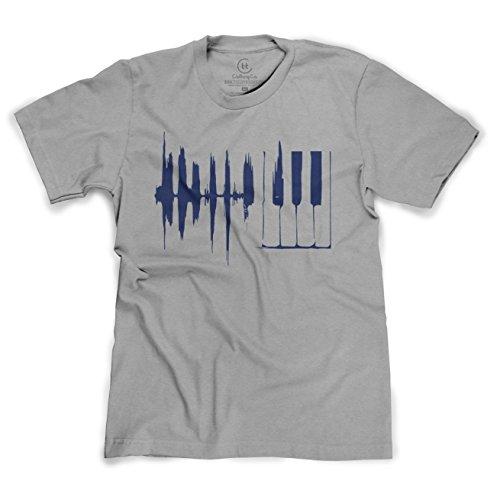 Piano Keys Sound Wave Keyboard Music Player T-Shirt - (Heather Grey) Medium