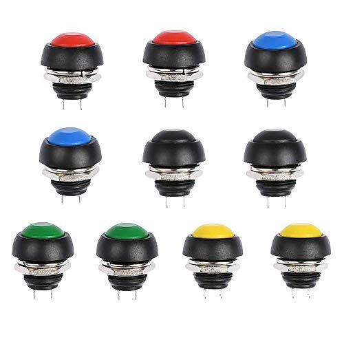 Gobesty Interruptor de botón momentáneo de 12 mm, 10 Piezas Interruptor de botón momentáneo a Prueba de Agua ON/Off para Trompeta de automóvil, PC, lámpara de Mesa, Timbre de casa, etc.