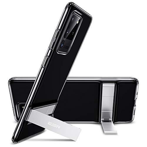 ESR Metallständer Hülle kompatibel mit Samsung Galaxy S20 Ultra Hülle, Vertikaler and Horizontaler Stand, Verstärkter Fallschutz, Flexibles TPU Hülle für Galaxy S20 Ultra, Klar