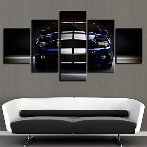 HAIYOUYOU Hd Prints Painting Modular 5 Pieces Ford Mustang Pictures Canvas Wall Art Home Decoration Modern for Bedside Background Posters -size1-No Frame