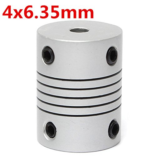 EsportsMJJ 4 mm x 6,35 mm aluminium flexibele askoppeling OD19 mm x L25 mm CNC Stepper Motor Coupler Connector