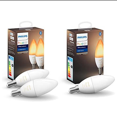 Philips Hue White Ambiance E14 LED Lampe 3er-Pack, dimmbar, alle Weißschattierungen, steuerbar via App, kompatibel mit Amazon Alexa