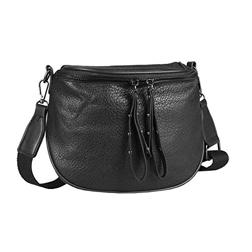 Damen Taschen Set 2in1 Schultertasche + Schmucktasche Strasssteine Umhängetasche Crossbody Crossover Leder Optik Handtasche Metallic Shopper (V2 Schwarz 27x17x10 cm)