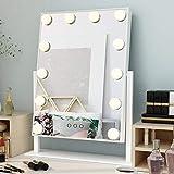 Ovonni Miroir de Maquillage, Miroir de Table, Hollywood Miroir, Tactile Réglable Lumière avec 12 Ampoules LED, 3 Modes de Lumière (Foid/Chaude/Naturelle), Pivotant à 360°, 30 * 40 cm, Blanc