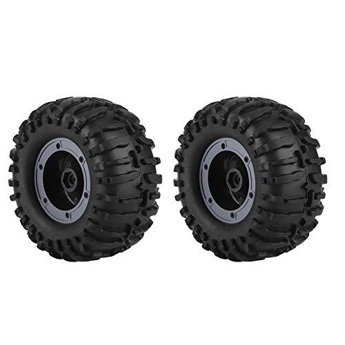 Dilwe 2PCS 1/10 Llantas de Goma RC y Ajuste de Rueda para ZD Racing Buggy Crawler Car(Gris Oscuro )