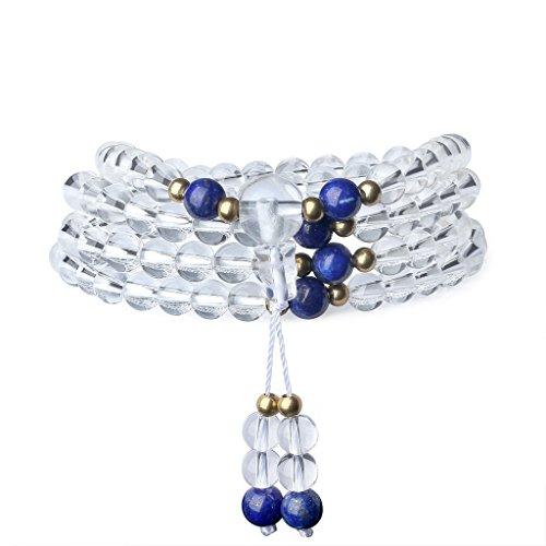 coai Geschenkideen 108 Mala aus 6mm Quarz und Lapislazuli Wickelarmband von Einfachem Stil Halskette für Damen und Herren