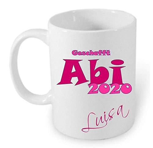 ABI 2020 HM~AA311~ Tasse Kaffeebecher Kaffee mit Namen bedruckt Namentasse personalisiert mit Wunschnamen Geschenk zum Abitur Junge Mädchen