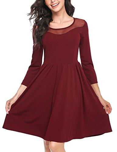 Zeagoo Damen Vintage 50er Jahr Rockabilly Kleid Swing Cocktailkleid Abendkleid Elegantes Kleid, (C)weinrot, Gr.- 42 EU/ Large