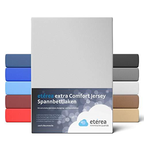 etérea Extra Jersey Spannbettlaken 180x200 bis 200x220 cm - Spannbetttuch für Boxspringbetten, Wasserbetten und Normale Matratzen, aus 100% Baumwolle und ca. 35 cm Steghöhe, Silber