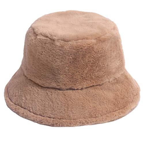 Elegante sombrero de cubo, mujeres coreanas invierno peluche peluche sombrero calentador de oreja cálida corta ala protector solar redondo Top espesano a prueba de viento Panamá Panamá Pescador Cap de