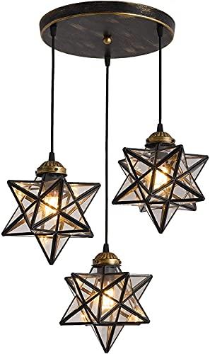 PXY 3-Luz Vintage Chandelier Lámpara de Casa Rústica Accesorios de Luz de Techo Iluminación Contemporánea Moravian Star Light Colgante-Transparente