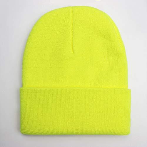 Gorro Unisex sólido Otoño Invierno Mezclas Gorra de Punto Suave y cálida Hombres Mujeres Sombreros Skullcap Gorras de esquí Gorro Gorros de 24 Colores-Fluorescent Yellow