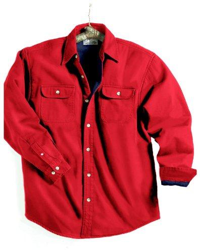 Tri-Mountain 869 Denim Shirt Jacket with Fleece Lining - Red/Navy - XL