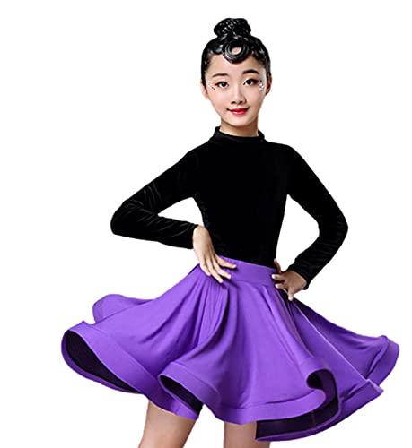 ZYLL Vestido de niña para Bailar 2021 Vestidos de Baile Latino para niñas Split de Manga Larga Salsa Tango Niños Traje de Baile Falda Salón de Baile,E,XXS