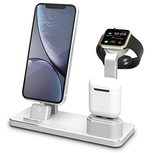 ATOPHK Aluminum Watch Charging Stand AirPods Stand Charging Docks Station Compatible for Apple Watch Series 4/3/2/1/ iPhone Xs Max/XR/X/8/8Plus/7/7 Plus/iPad (101-Silvery)