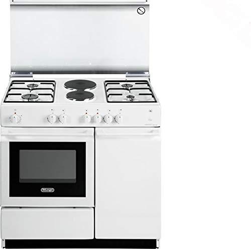 Cucina a gas con forno elettrico, N° 4 Fuochi + 2 Piastre, 86x50 cm, colore Bianco SEW 8542 N ED