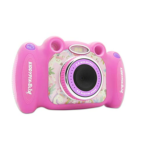 Kiddypix 'Blizz' Kinderkamera mit Webcam-Funktion, gummierte Außenseite, Integrierte Spiele, Pink
