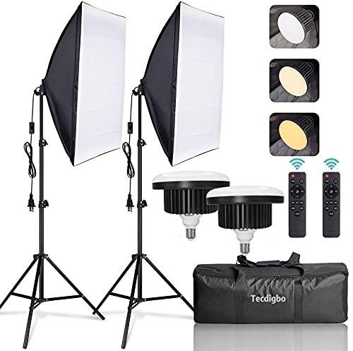 150W Softbox Iluminacion Kit Fotografia con 2 Softbox 50×70cm y 2 Bombilla de Luz 3000K-6000K Temperatura Regulable y Luz Continua E27 y 1 Bolsa de Transporte, para Videos de Retrato de Estudio