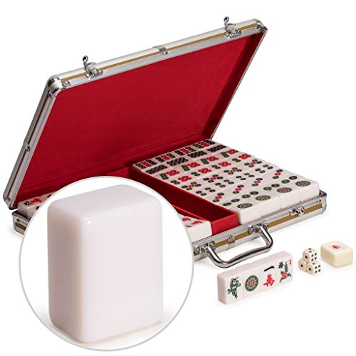 Yellow Mountain Imports Champion-Size Chinese Mahjong Game Set with Aluminum Case - with 146 Tiles, 3 Dice and a Wind Indicator - for Chinese Style Gameplay Only