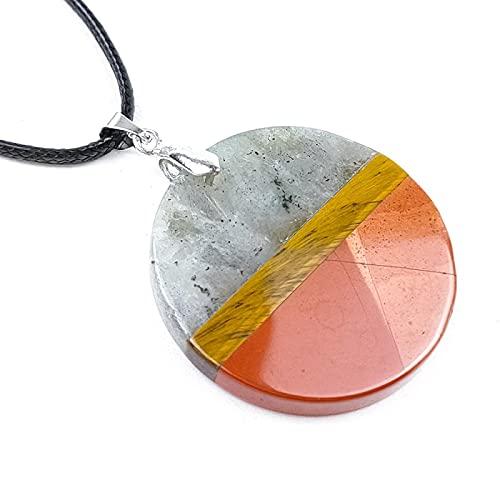 ShSnnwrl Collar Temperamento Atemporal Piedra Natural, Colgante De Placa De Costura Redonda, Labradorita, Equilibrio Energético,