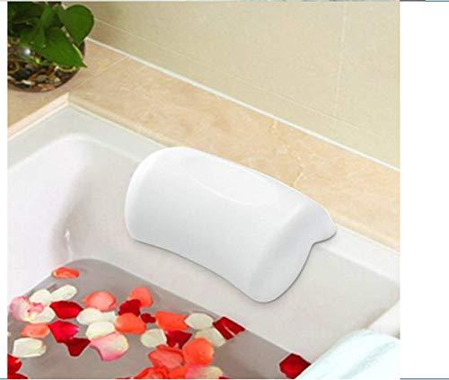 Almohada de baño de spa, suave con 2 ventosas, cabeza, cuello, almohada de bañera de apoyo, para bañera de hidromasaje, jacuzzi y spa en casa (blanco)