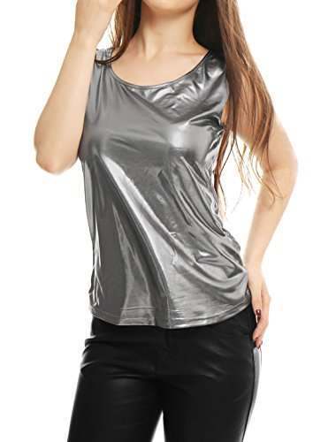 Allegra K Damen Ärmellos U-Boot Neck Metallic Tank Top Silber Grau L