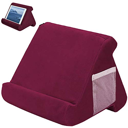 Multi-Angle Soft Pillow Lap Stand Book Couch Pillow Stand Tablet Stand Pillow with Small Pocket Portable Triangle Tablet Wedge Holder for eReaders Smartphones Books Magazines (Wine Red)