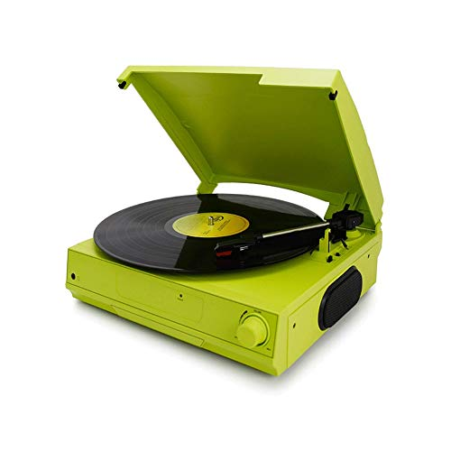 Z-Color Spielen Drehscheibe-Vinylplattenspieler, 3 Speed Riementrieb for Superior-Ton, Qualitäts-Keramik-Kartusche, Eingebaute Stereo-Lautsprecher, Aux In, RCA Out und Staubschutz (Color : Green)