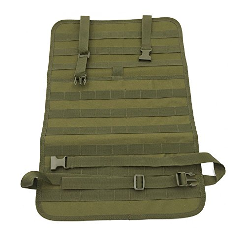 DETECH Tactical MOLLE Vehicle Front Seat Storage Car Seat Back Organizer Seat Cover Protector Universal Fit Multicolor (Black/Tan/Green)