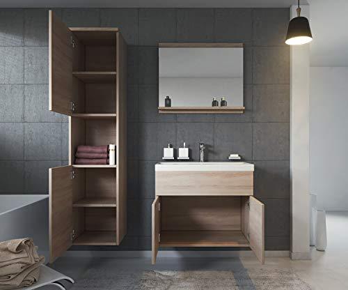 Badmöbel Set Montreal 60 cm Sonoma Eiche – Unterschrank Hochschrank Waschtisch Bild 2*