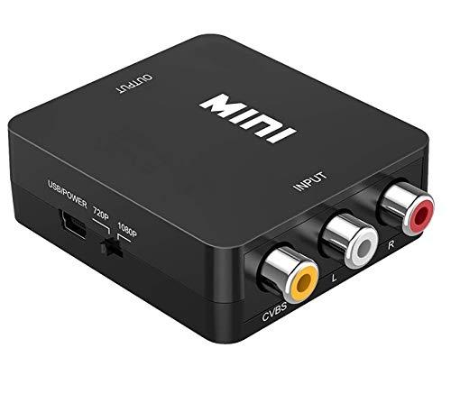 PXFD - Adaptador RCA a HDMI, convertidor AV a HDMI, 3 RCA AV a HDMI Convertidor para Xbox PS4 PS3 PS2 TV STB VHS Cámara DVD