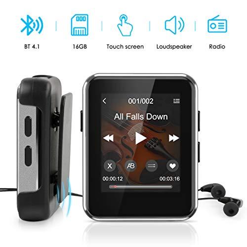 Lecteur MP3,Timoom X1 Lecteur Baladeur Bluetooth 1.77 Pouces Sport Écran Tactile Complet 16 Go, Haut-Parleur HiFi Portable sans Perte,Radio FM,Photos, enregistrements, E-Book,Extensible jusqu'à 128 Go
