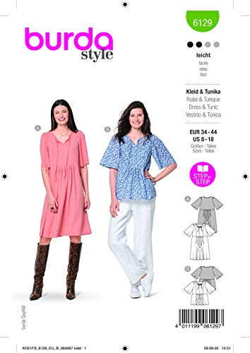 Burda 6129 Schnittmuster Kleid und Tunika (Damen, Gr. 34-44) Level 2 leicht