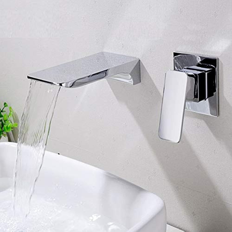 Waschtischarmatur Messing Wasserfall Wasserhahn Wand Montiert Becken Wasserhahn Heien Und Kalten Wasser Mischer Bad Waschbecken Wasserhhne Gebürstetem Chrom