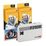 Kodak Mini 2, Impresora Fotos movil + 68 Fotos, Fotos Instantáneas Tamaño 54X86Mm, Conexión Inalámbrica Bluetooth, Compatible con Smartphones iOS y Android - Blanco