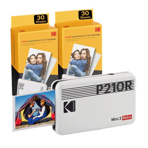 Kodak Mini 2 Stampante foto per cellulare, 6 Cartucce incluse, Istantanee formato 54x86mm, Bluetooth, Wireless, Portatile e compatibile iOS e Android - Bianca