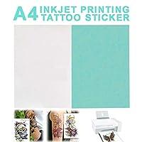 SASKATE プリンター用紙、A4一時的な入れ墨DIY印刷用紙転写デカール用紙インクジェットプリンター用