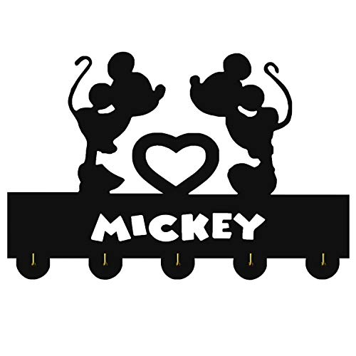 Mick Door Hooks,Disney Mickey Mouse Cartoon Animation Coat Hooks,Key Holder,Key Hanger for Wall、Entryway and Living Room -Unigue Gift-5 Hooks-20LB(Max)