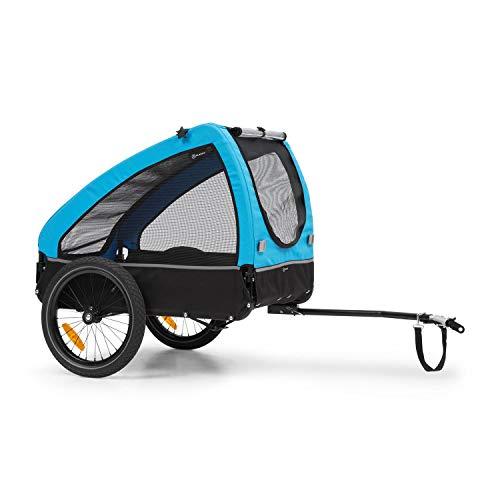 Klarfit Husky Fahrrad-Hundeanhänger, ca. 250 Liter Volumen, Material: 600D Oxford Canvas, SmartSpace Concept, maximale Belastbarkeit: 45 kg, pulverbeschichteter Stahlrahmen, Farbe: blau
