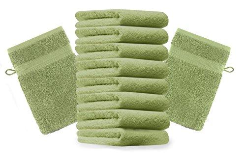 Betz Lot de 10 Gants de Toilette Taille 16x21 cm 100% Coton Premium Couleur Vert Pomme
