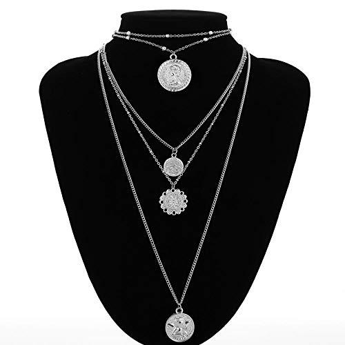 Halskette 5 Multi Layer Lange Verstellbare Kette 4 Anhänger Choker Halskette Mode Münze Rune Königin Schmuck Frauen Frauen Geschenk Silvercolor