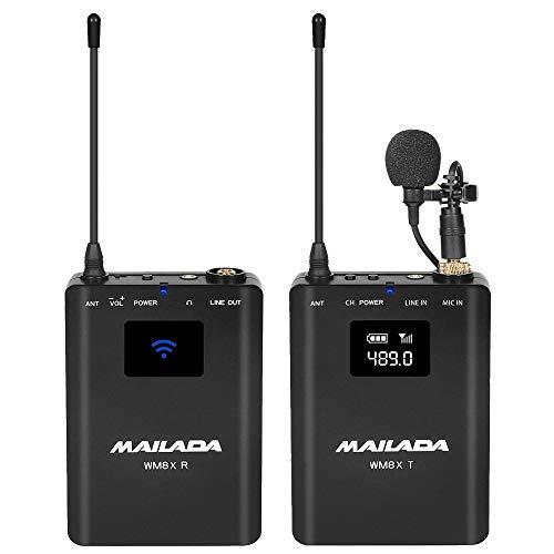 WM8X UHF Senza Fili Lavalier Microfono Wireless Videocamera Microfono con Funzione Monitor Compatibile per Fotocamere DSLR Videocamere Smartphone per Colloquio Insegnamento Registrazione Ospitando