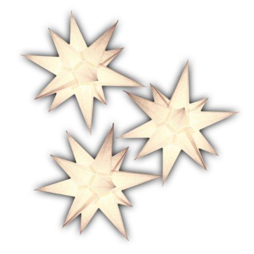 Sternschmiede 3er Set beleuchtete Papiersterne 3D Weihnachtssterne Fenster (ArtNr.200*) inkl. Netzteil, 3-Fach-Verteiler, Fenster-Clip, 19 cm, Papier, komplett handgefertigt, für Innenbereich (weiß)