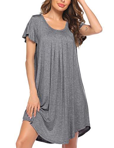 Ekouaer Short Nightgown Lightweight Soft Bamboo Pleated Loungewear Plus Size Sleepshirt Loose Nighties for Women Medium Grey 3XL