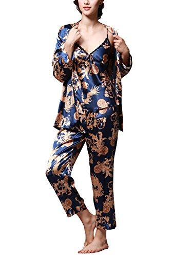 Dolamen Pijamas para Mujer, Pijamas Mujer Invierno, 3-in-1 Mujer Camisones, Satén Suave y cálido Manga Larga y Pantalones Largos, Mujer Largo Camisones Raso Satin Pijamas