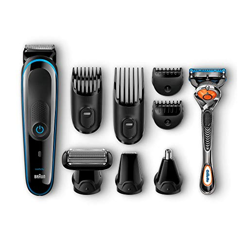 Braun 9-in-1 Präzisionstrimmer Multigrooming-Set MGK3080, für Bart-und Haarstyling, schwarz/blau