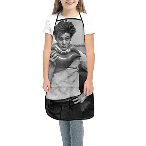 Leon-Ardo Di-Caprio Kids Tabliers pour enfants pour la cuisine, la pâtisserie, le jardinage, les arts et les travaux manuels - Pour enfants de 3 à 8 ans - Noir - petit