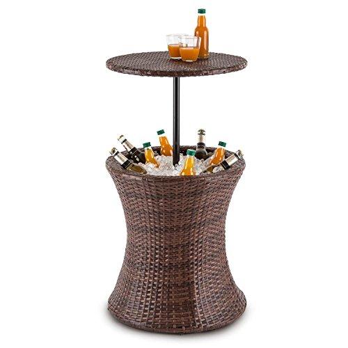 blumfeldt Beerboy - tuintafel, hoge tafel, bijzettafel, koelbox, in hoogte verstelbaar tafelblad, 50cm diameter, poly rotan, voor tuin, balkon of terras, weerbestendig, bruin