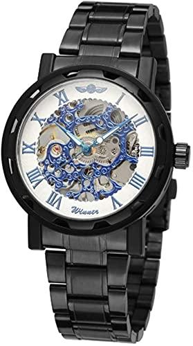 JZDH Mano Reloj Hombres mira Relojes de Pulsera Hombre Hueco mecánico Impermeable Correa de Acero Inoxidable Reloj Reloj Blanco + dial Azul Relojes Decorativos Casuales