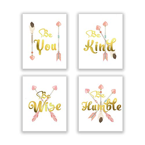 Inspirational Quotes Be kind Be you Gold Foil Art Print&Watercolor Pink Arrow Feathers Cardstock Poster&Print,Lovely Picture For Girl Bedroom,Living room Wall Decor(set of 4,8'' x 10''Unframed)